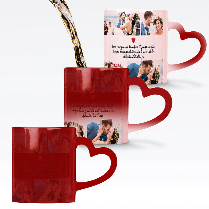 Personalised red magic mug with heart handle reveals the design when it gets hot