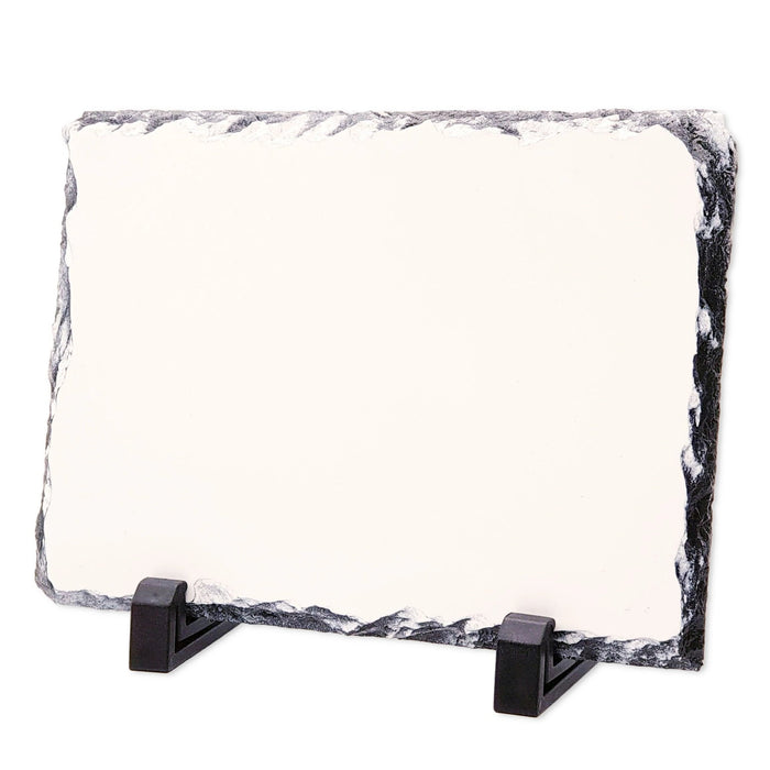 medium landscape photo slate with white flat surface laying on 2 legs support