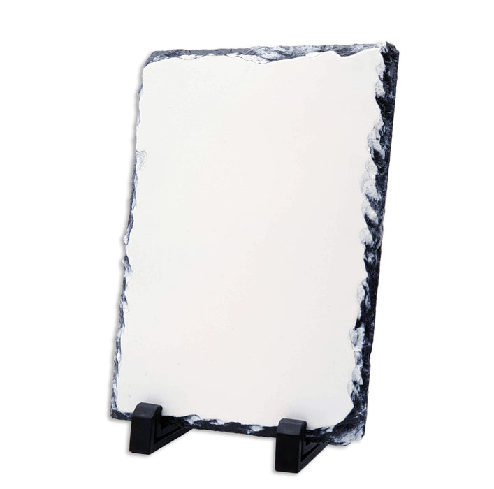 medium portrait photo slate with white flat surface sitting on 2 legs support