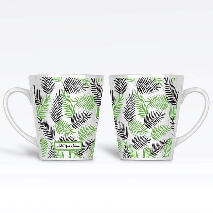 Personalised name 12 oz latte Mug with tropical forest leaves in Mint and Black colours