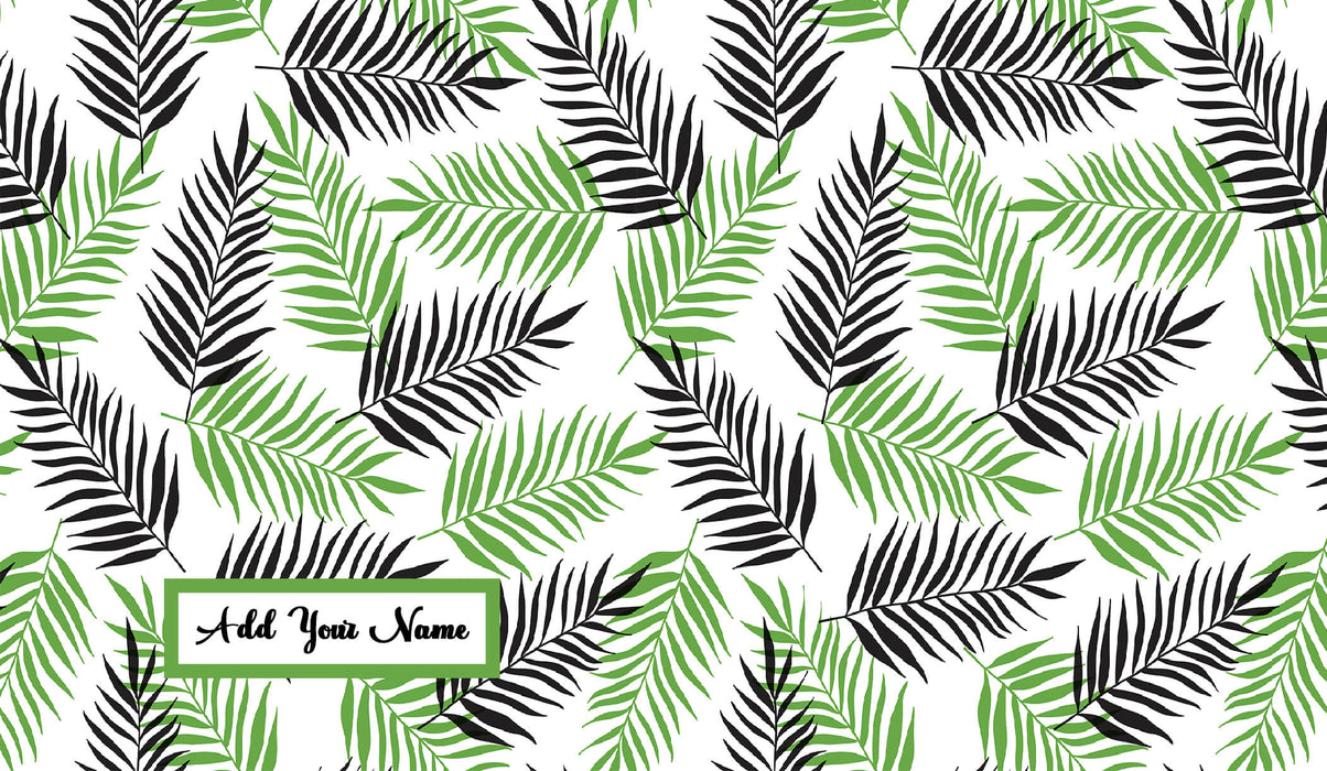 Name Mint and Black Tropical Forest Theme Latte Mug design template