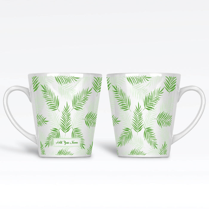 Personalised name 12oz latte Mug with tropical forest leaves in Mint colour