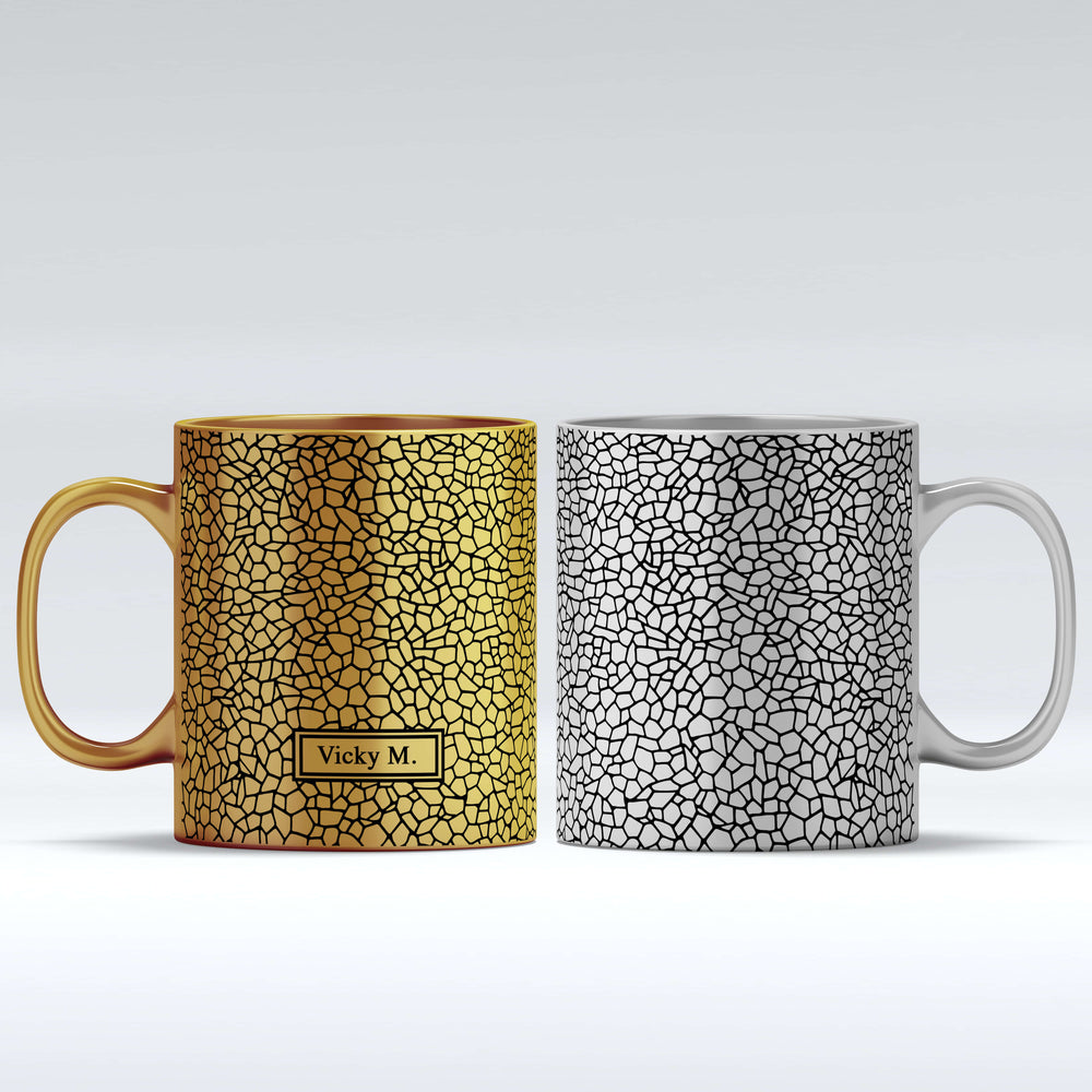 Name Mug - Mosaic Theme Design | Gold Mugs and Silver Mugs design-your-gift.