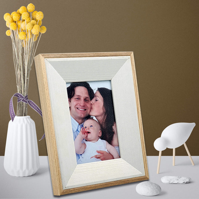 Oak Photo Frame and white wood with 4x6 picture scene