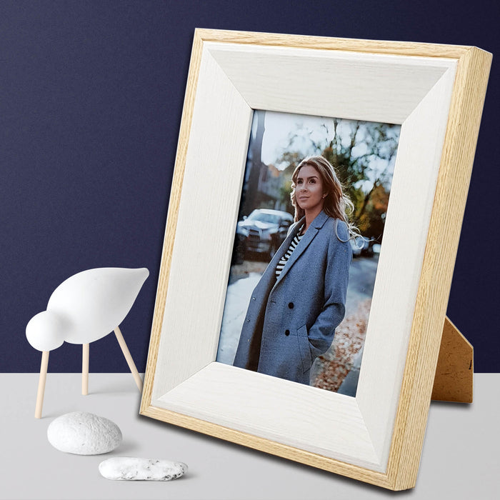 Oak Photo Frame and white wood with 5x7 picture scene