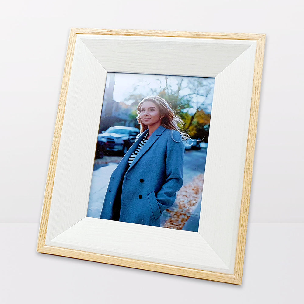 Oak Photo Frame and white wood with 5x7 picture