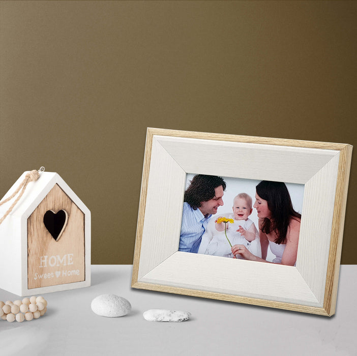 Oak Photo Frame and white wood with 6x4 picture scene