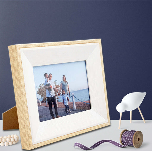 Oak Photo Frame and white wood with 7x5 picture scene