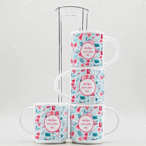 Personalised Christmas Baubles Stackable Mugs  | Set of 4 with Stand design-your-gift.