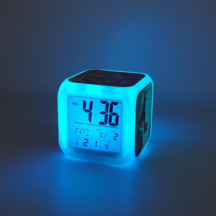Children's Personalised Alarm Clock with light blue LED light
