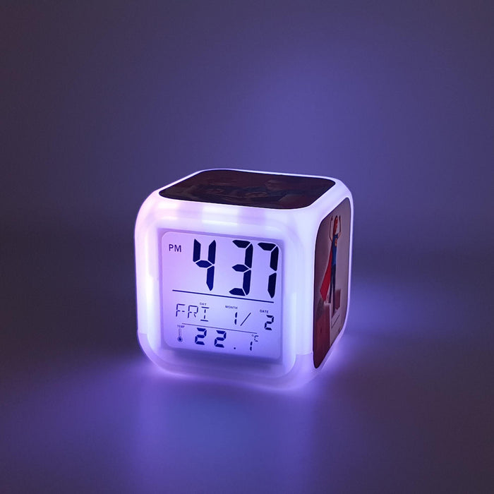 Children's Personalised Alarm Clock with purple LED light