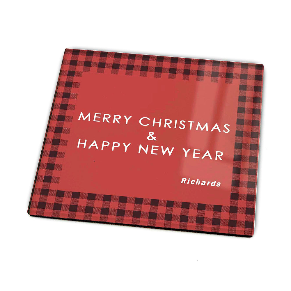 Personalised Christmas Glass Coaster- Tartan Design design-your-gift.