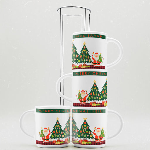 Personalised Christmas Greetings Stackable Mugs | Set of 4 with Stand design-your-gift.