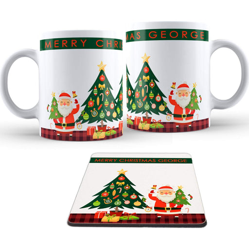 Personalised Christmas Greetings Name Mug and coaster set design-your-gift.