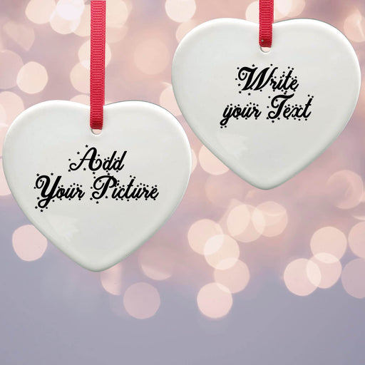 Personalised Christmas Tree Decoration - Heart Ceramic Ornaments design-your-gift.