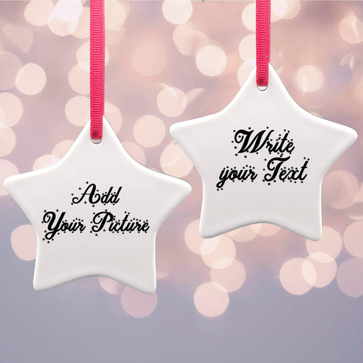 Personalised Christmas Tree Decoration - Star Ceramic Ornaments design-your-gift.