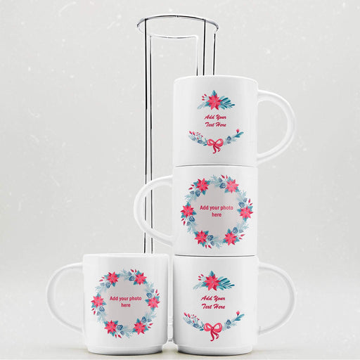 Personalised Christmas Wreath Stackable Mugs  | Set of 4 with Stand design-your-gift.