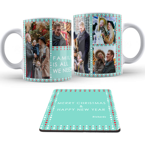 Personalised Christmas Garland photo collage Mug and coaster design-your-gift.