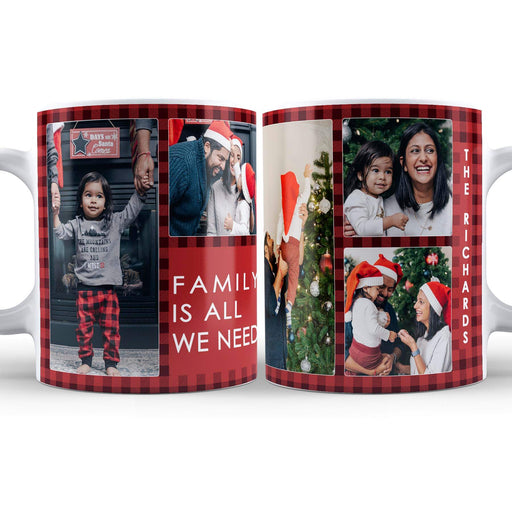 Personalised Christmas Tartan Photo Collage Mug and Coaster Set design-your-gift.