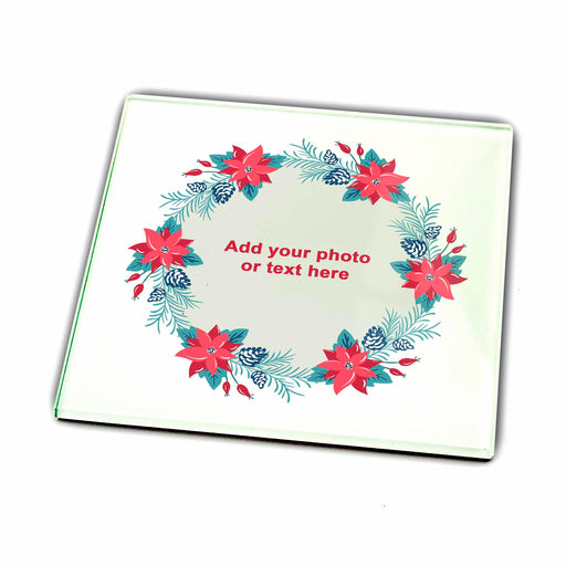 Personalised Glass coaster - Christmas Wreath design-your-gift.