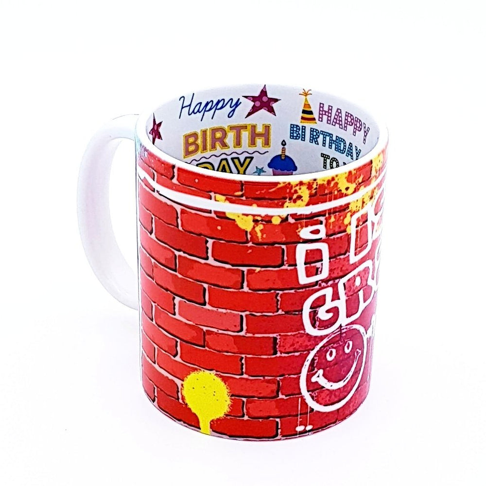 Personalised Happy Birthday Mug with Hidden Message happy birthday text and balloons printed on the inside of the mugs
