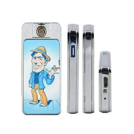 personalised lighter with cartoon man wearing blue shirt and brown trousers and smoking