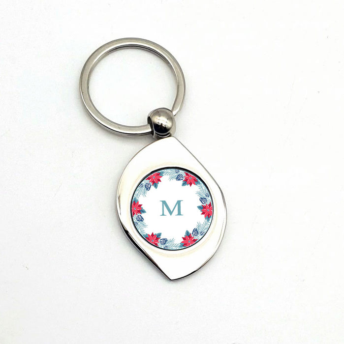 personalised Metal Photo Keyring leaf-shape