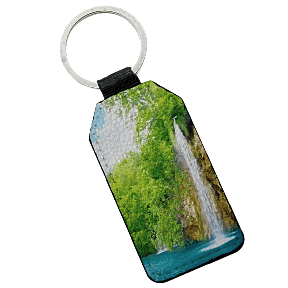Double Sided Photo Keyring - Rectangle Leather keyring design-your-gift.