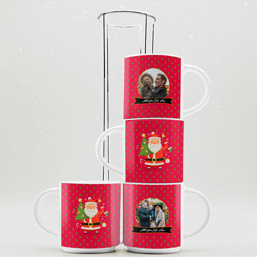 Personalised Santa Has Arrived Stackable Mugs  | Set of 4 with Stand design-your-gift.