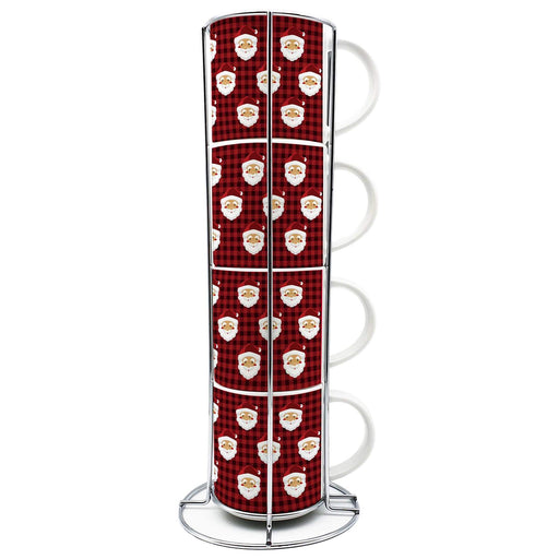 Personalised Santa Stackable Mugs | Set of 4 with Stand design-your-gift.
