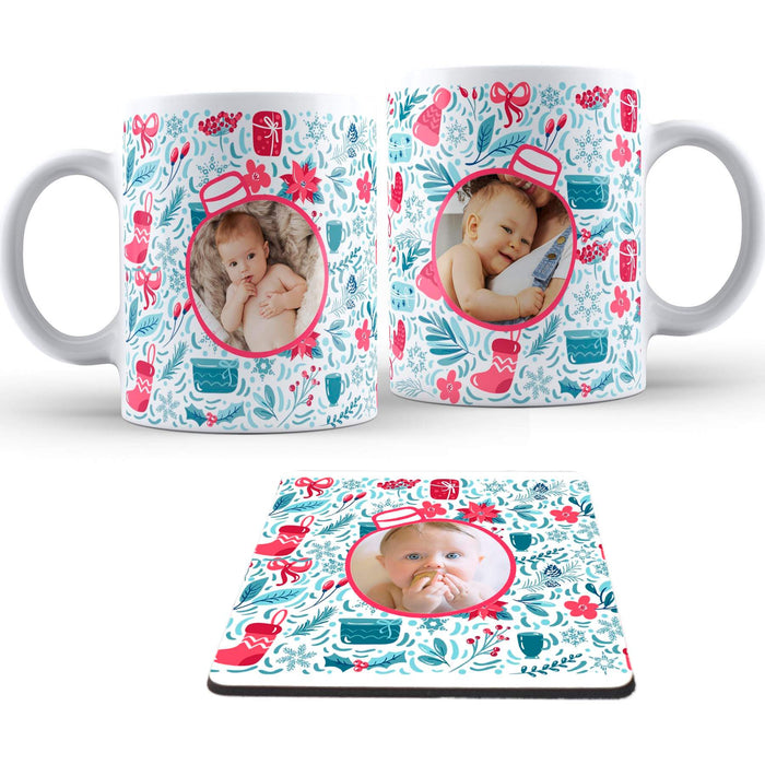 Personalised Christmas Baubles Mug and coaster set design-your-gift.