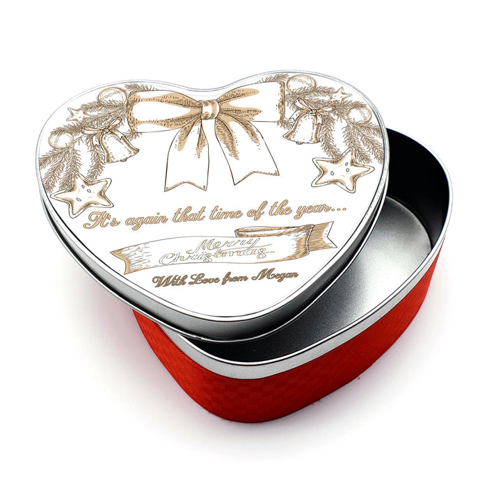 Personalised Christmas Tin - Heart shaped | Christmas Scene Design with text design-your-gift.