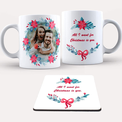Personalised Christmas Wreath Mug and Coaster Set design-your-gift.