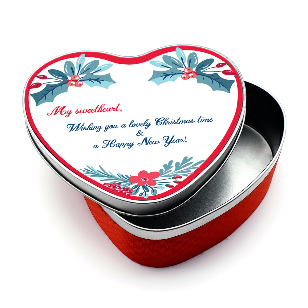 Personalised Christmas Tin - Heart shaped | Wreath Design With Text design-your-gift.