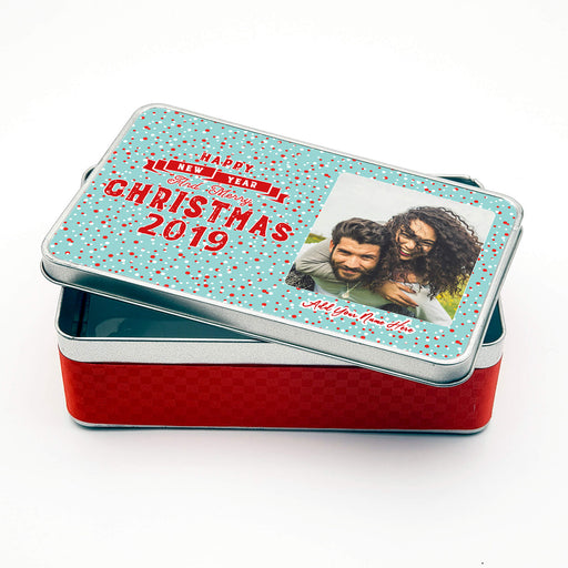 Personalised Rectangle Christmas Greetings Tin with Photo design-your-gift.