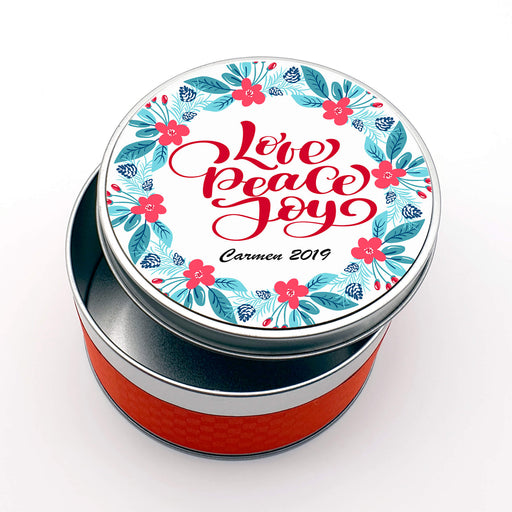 Personalised Round Christmas Tin - Floral Wreath With Name design-your-gift.