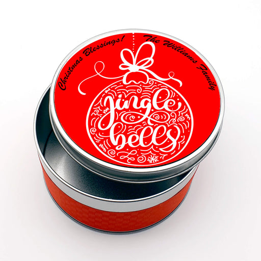 Personalised Round Christmas Tin - Jingle Bells Design with text design-your-gift.