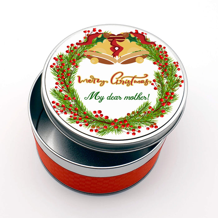 Personalised Round Christmas tin - Wreath With Text design-your-gift.
