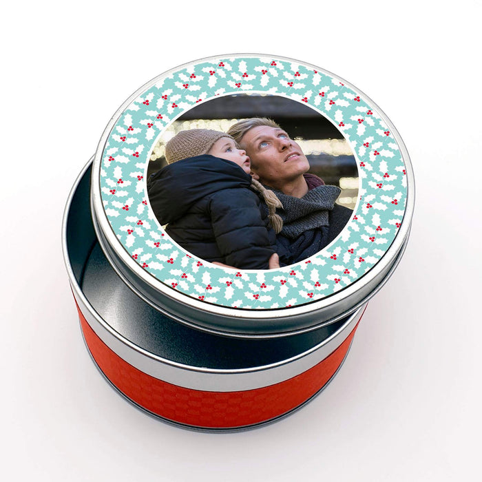 Personalised Round Christmas Tin With Photo design-your-gift.
