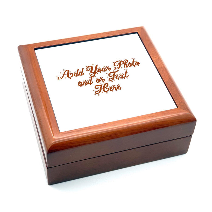 Personalised Wooden Christmas Eve Box With ceramic Tile - Brown design-your-gift.