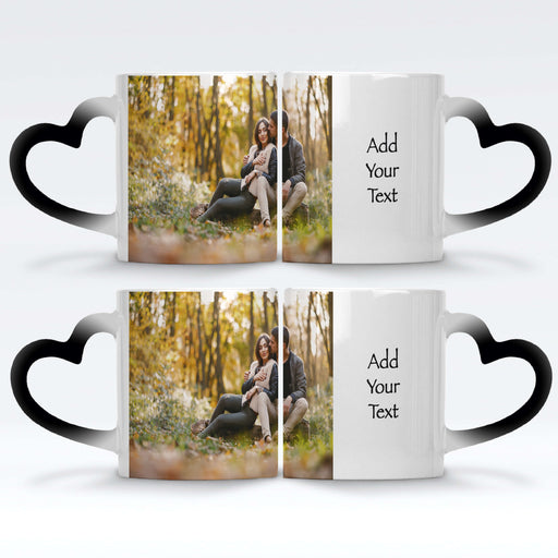 2 personalised black magic mugs with heart handle set printed with a photo and text next to it