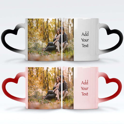 personalised red and black magic mugs with heart handle set printed with a photo and text next to it
