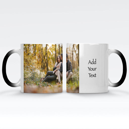 Personalised black magic mug with a photo and text next to it