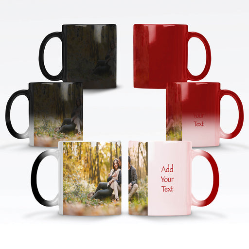 Personalised black and red magic mug with a photo and text next to it