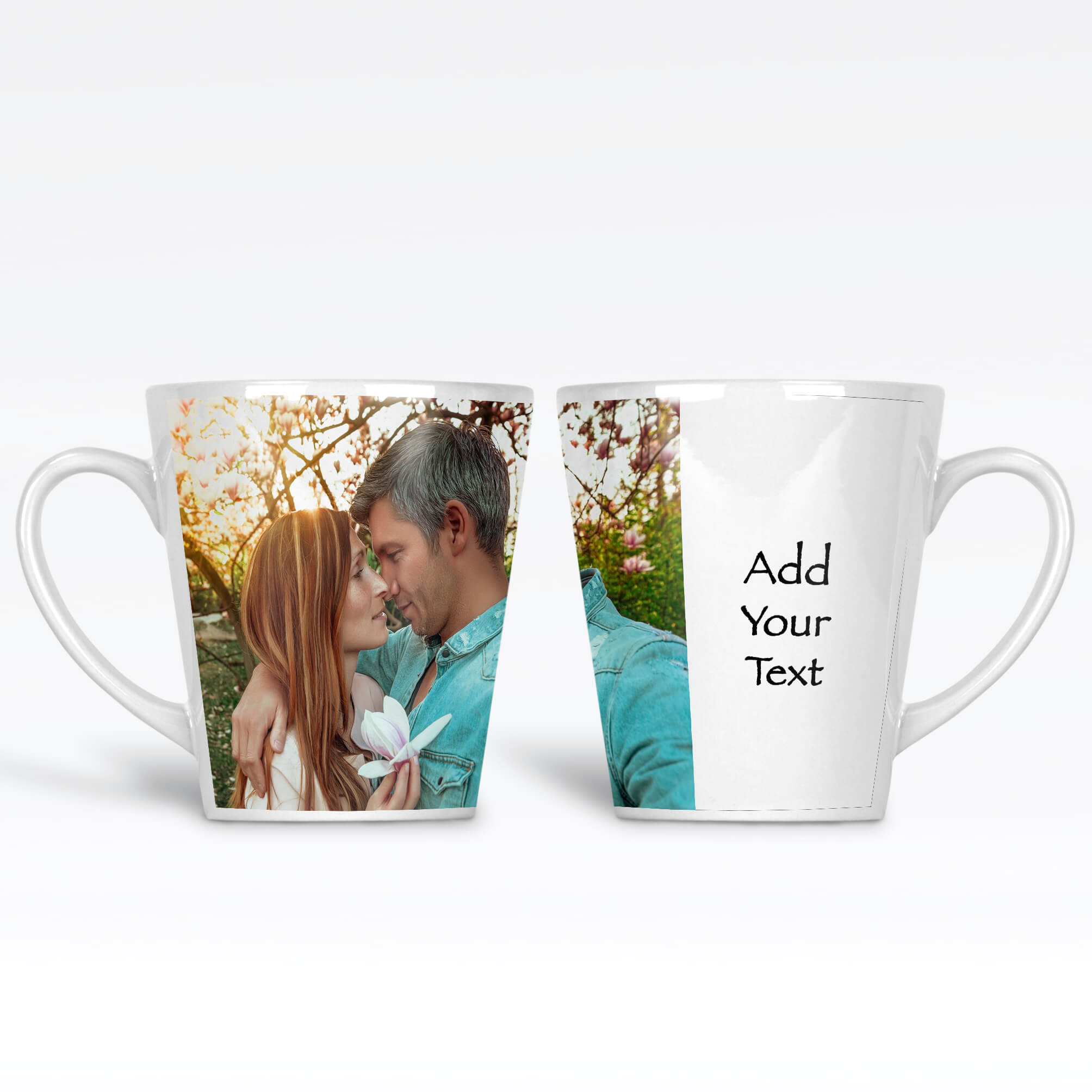 12 oz White Photo latte mug personalised with 1 photo and text next to it