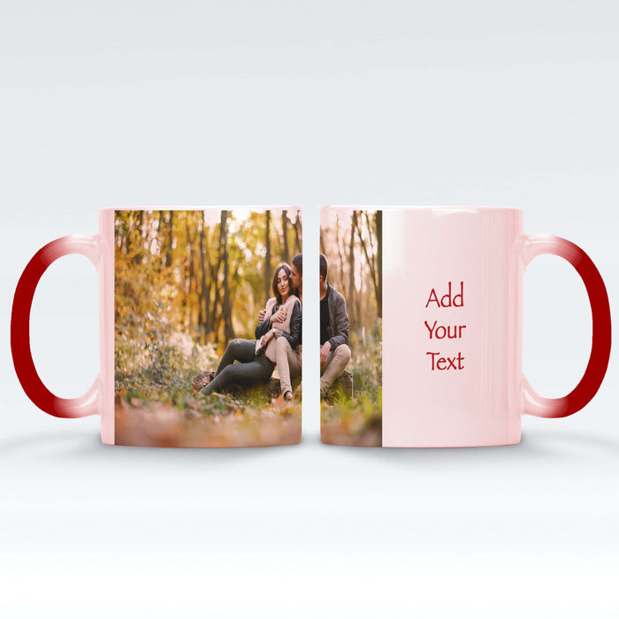 Personalised red magic mug with a photo and text next to it