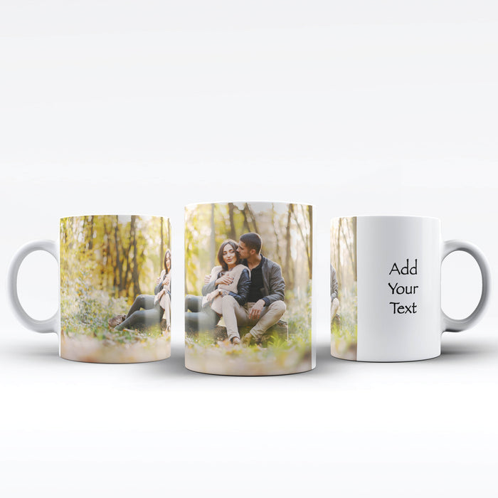 White mug personalised with 1 photo and text next to it