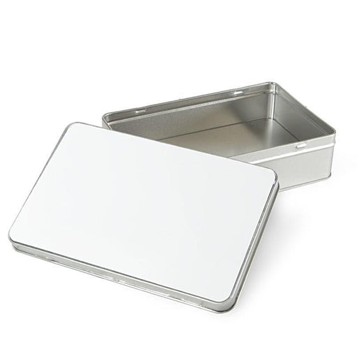 rectangle personalised tin Box mad of aluminium open lid