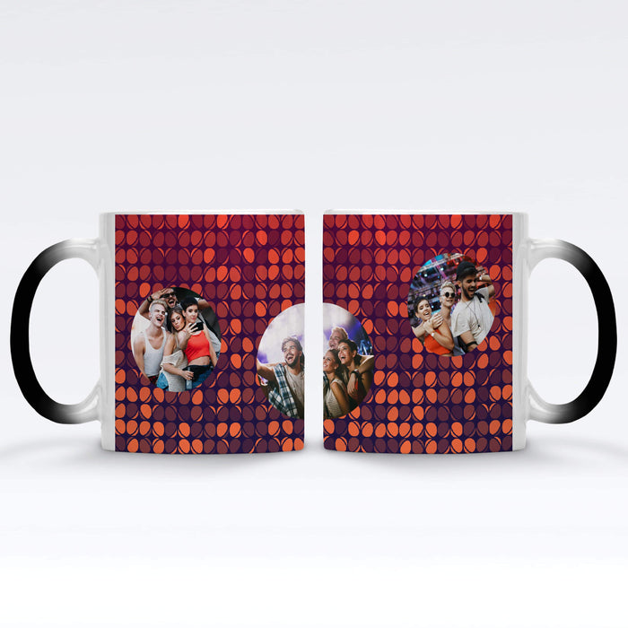 Personalised Black Magic Mug printed with 3 photos on colourful party lights background Vol4