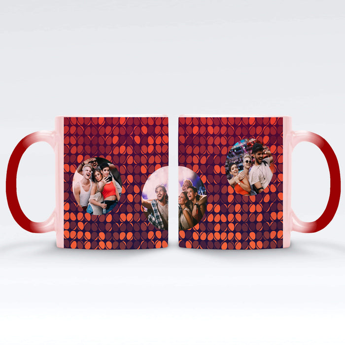 Personalised red Magic Mug printed with 3 photos on colourful party lights background Vol4